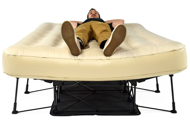inflatable air beds on legs with a stand for support